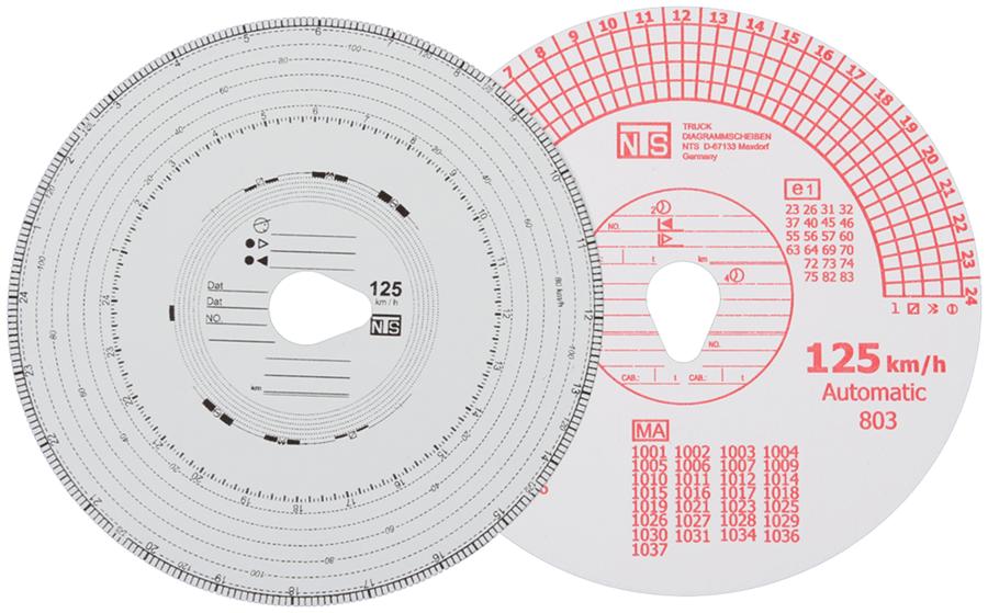 Тахограммные диски 125 км/ч